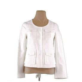 【中古】 セオリー Theory ジャケット シングル ポケット付き レディース ♯2サイズ ノーカラー ホワイト 人気 H538 .