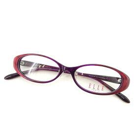 【中古】 エル ELLE メガネ 眼鏡 度なし レディース メンズ 可 ボルドー×パープル 中古 【未使用】 T2114 .