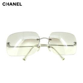 シャネル CHANEL サングラス アイウエア レディース メンズ ココマーク シルバー 人気 セール 【中古】 T9701