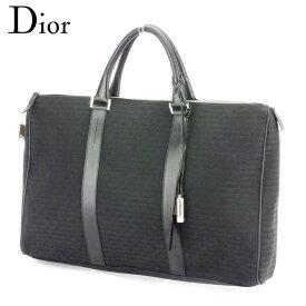 【中古】 ディオール Dior ビジネスバッグ ハンドバッグ ロゴ柄 レディース メンズ ブラック シルバー クリスマス プレゼント バック ブランド 人気 収納 在庫一掃 1点物 兼用 男性 女性 良品 D2039 .
