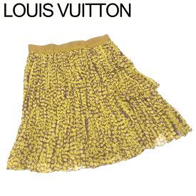 【中古】 ルイ ヴィトン Louis Vuitton スカート シルクシフォン レディース ♯38サイズ フレアー イエロー ブラウン シルク 絹 C3676 .