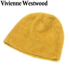 【中古】 ヴィヴィアン ウエストウッド Vivienne Westwood 帽子 ニット帽 レディース メンズ イエロー アンゴラ 毛 ウール ナイロン F1552 .