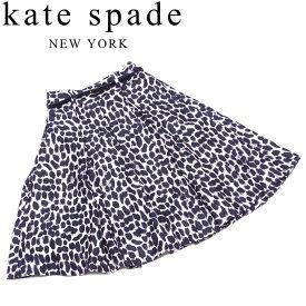 【スーパーSALE】 【20%オフ】 【中古】 ケイト スペード kate spade スカート ウエストベルト付き レディース ♯0サイズ フレアー ブラック ホワイト 白 シルク アセテート 【ケイト・スペード】 M633