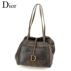 【中古】 ディオール Dior ボストンバッグ ショルダーバッグ ヴィンテージ加工 Dプレート レディース メンズ ブラック ブラウン ゴールド クリスマス プレゼント バック ブランド 人気 収納 在庫一掃 1点物 兼用 男性 女性 良品 T9610 .