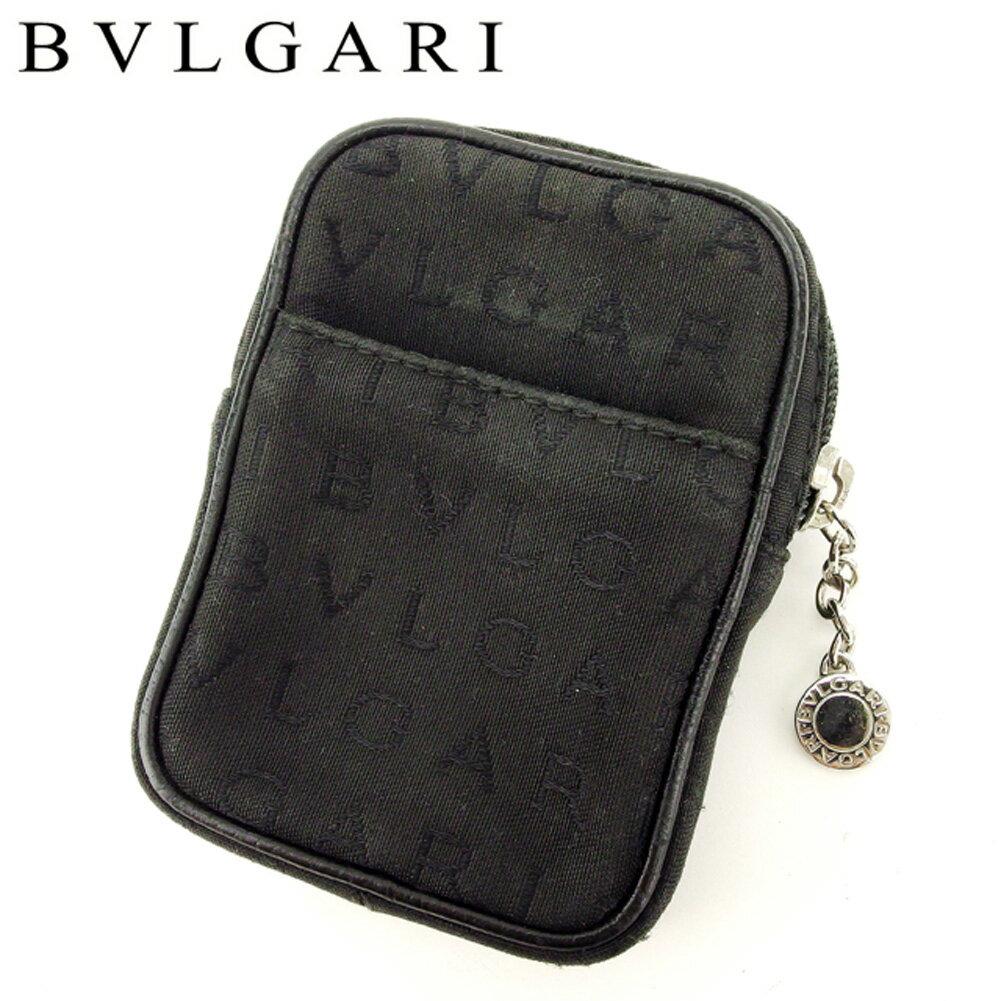 【中古】 ブルガリ BVLGARI ポーチ マルチポーチ シガレットケース レディース メンズ ロゴマニア ブラック キャンバス×レザー 人気 セール L2439