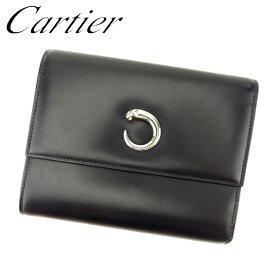 f4494f3bb350 【中古】 カルティエ Cartier 三つ折り 財布 財布 ブラック シルバー パンテール レディース メンズ 可 T7700s