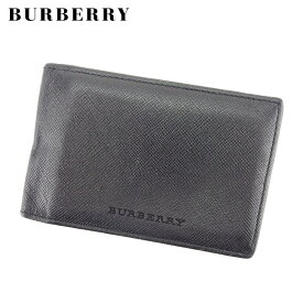【中古】バーバリー BURBERRY カードケース パスケース メンズ ロゴ ブラック レザー 人気 D1964 .