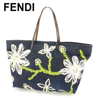 f1476add985981 Fendi FENDI tote bag handbag Lady's navy white white green denim canvas X  leather popularity sale T8959