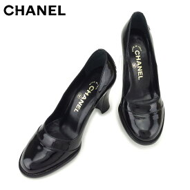 5f46d9da2fd0 中古 【中古】 シャネル CHANEL パンプス シューズ 靴 レディース ♯34 チャンキーヒール ココマーク ブラック シルバー エナメルレザー  人気 セール L2539