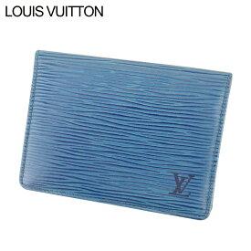 【中古】 ルイ ヴィトン Louis Vuitton 定期入れ パスケース レディース メンズ ポルト2カルトヴェルティカル エピ トレドブルー エピレザー 廃盤 人気 L2542 .