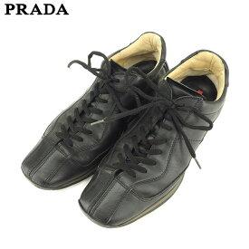 dedcc3772f99 中古 【スーパーSALE】 【20%オフ】 【中古】 プラダ PRADA スニーカー シューズ 靴 メンズ ブラック レザー 人気 セール P837 .