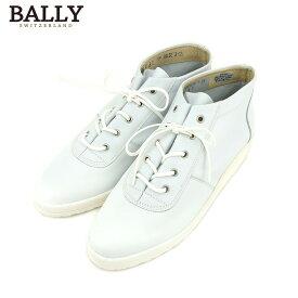 【中古】 バリー BALLY スニーカー シューズ 靴 レディース #6 レースアップ ブルー レザー 未使用品 セール T9179 .