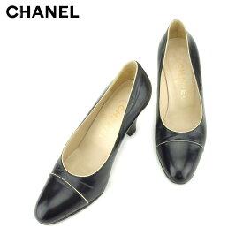 aba7871ff152 【中古】 シャネル CHANEL パンプス シューズ 靴 レディース ♯34ハーフ ブラック レザー 人気 良品