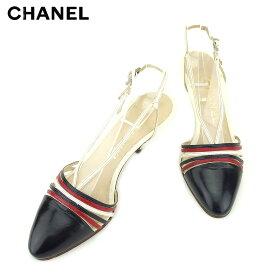 ec4553ee7462 【中古】 シャネル CHANEL サンダル シューズ 靴 レディース ホワイト 白 ネイビー レッド レザー 人気 良品