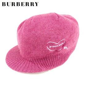 【中古】 バーバリー ブルーレーベル BURBERRY BLUE LABEL ニット帽 つば付き レディース パープル A1796 .
