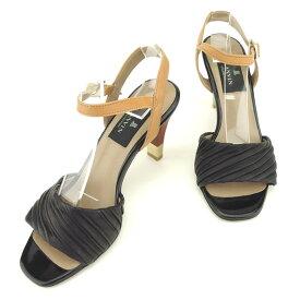 【中古】 ランバン LANVIN サンダル シューズ 靴 レディース ♯22ハーフ アンクルストラップ ブラック ブラウン ゴールド レザー F1480