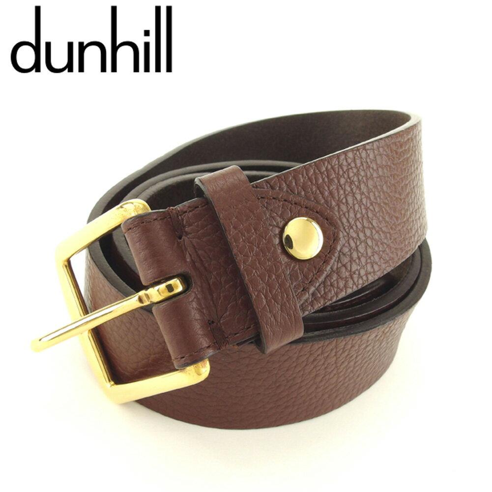 【中古】 ダンヒル dunhill ベルト プレーンベルト メンズ シングルピン ブラウン ゴールド レザー×ゴールド金具 人気 良品 T9386