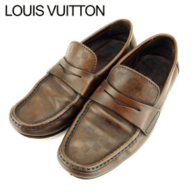 【中古】 ルイ ヴィトン Louis Vuitton ローファー シューズ 靴 メンズ #6 ダミエ ブラウン レザー 人気 セール T9399 .