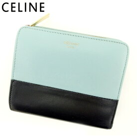 33aa1b0c10ed 【中古】 セリーヌ Celine 二つ折り 財布 財布 レディース メンズ バイカラー ブルー ブラック レザー