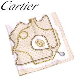 【中古】 カルティエ Cartier スカーフ 大判サイズ レディース メンズ プリント ベージュ ホワイト 白 ブラウン系 シルク 絹 人気 良品 E1399 .