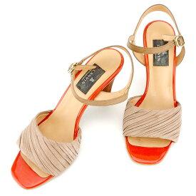 【中古】 ランバン LANVIN サンダル シューズ 靴 レディース ♯24ハーフ アンクルストラップ ブラウン オレンジ ゴールド レザー T9460
