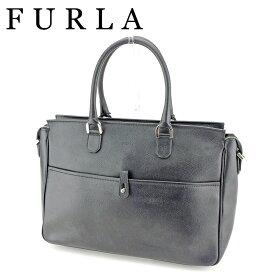 【中古】 フルラ FURLA ビジネスバッグ トートバッグ ハンドバッグ レディース メンズ ロゴ ブラック シルバー レザー 人気 良品 P851 .