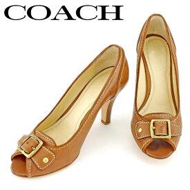 【中古】 コーチ パンプス シューズ 靴 ♯5B オープントゥ シグネチャー ブラウン ゴールド レザー COACH P910 .