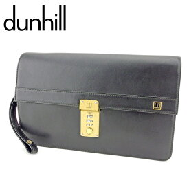 【中古】 ダンヒル dunhill クラッチバッグ セカンドバッグ メンズ ロゴプレート ブラック ゴールド レザー 人気 セール T9375