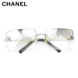 シャネル CHANEL サングラス メガネ アイウェア レディース メンズ ラインストーン付き ココマーク グレー 灰色 シルバー プラスチック×シルバー金具 人気 セール 【中古】 F1527
