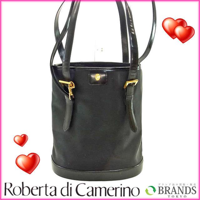 【送料無料】 ロベルタ・ディ・カメリーノ Roberto camerino トートバッグ ブラック ナイロン×レザー×ゴールド素材 (あす楽対応)【中古】 B165