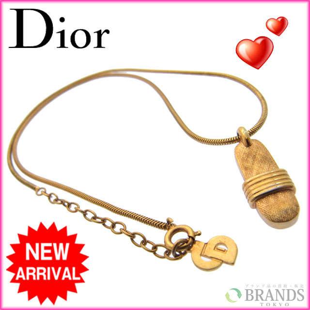 【送料無料】 クリスチャン・ディオール Christian Dior ネックレス ゴールド ゴールド素材 【中古】 B233 .