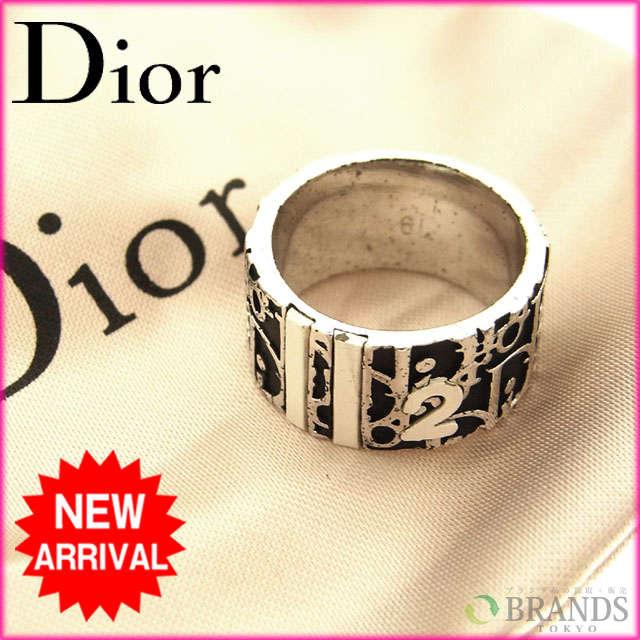 【送料無料】 クリスチャン・ディオール Christian Dior リング トロッター シルバー×ブラック シルバーメッキ 【中古】 C325 .