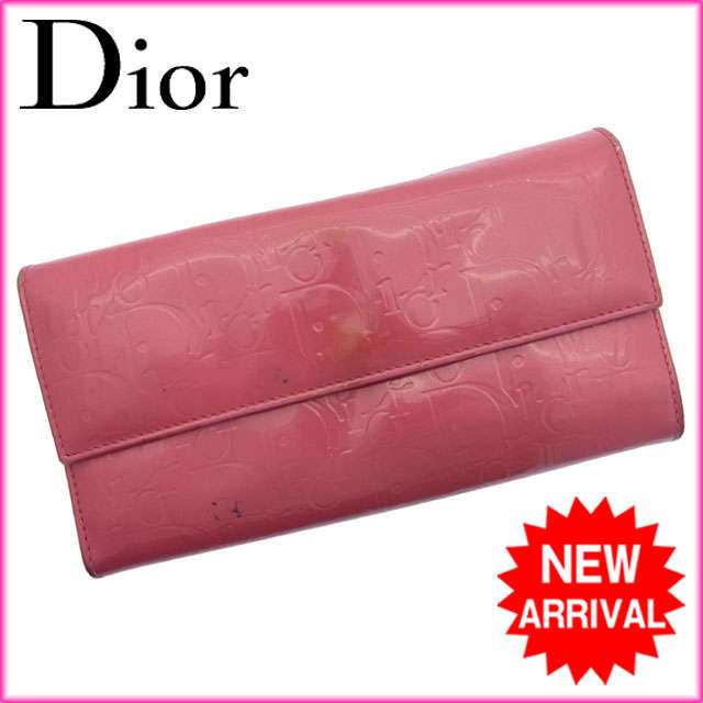 【送料無料】 クリスチャン・ディオール Christian Dior 長財布 ロゴ ピンク エナメルレザー 【中古】 C522