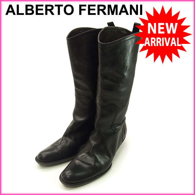 【送料無料】 (良品・即納) アルベルトフェルマーニ ALBERTO FERMANI ブーツ ミディアム レディース ♯35・イタリア製 ブラック レザー 【中古】 C746