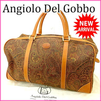 Angiolo Del Gobbo Boston bag men allowed Paisley canvas / leather (for) good popular C1326
