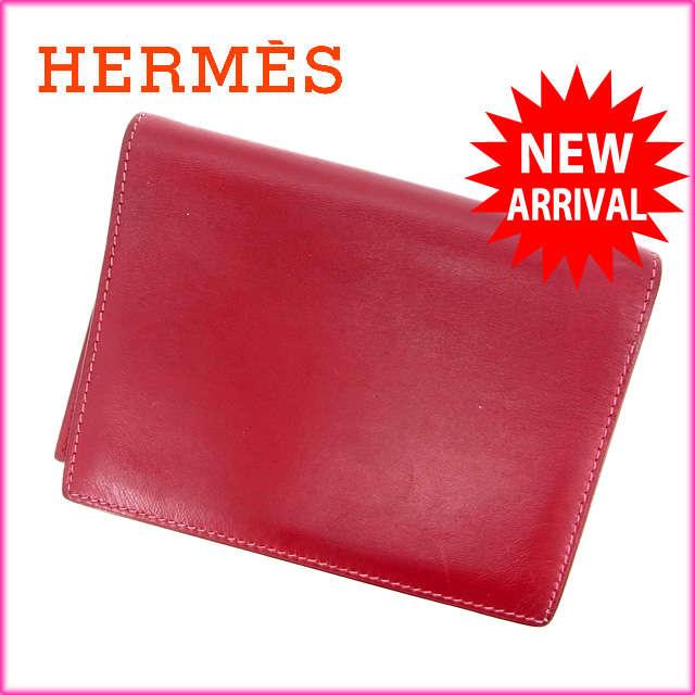 【中古】 【送料無料】 (良品・即納) エルメス HERMES 手帳カバー メンズ可 アジェンダ ロゴ レッド レザー D886s