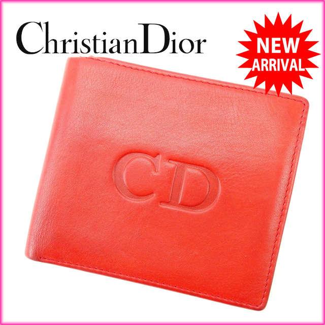 【送料無料】 クリスチャン・ディオール Christian Dior 二つ折り財布 ヴィンテージ メンズ可 レッド×ネイビー レザー (あす楽対応)良品 人気 【中古】 D1156 .