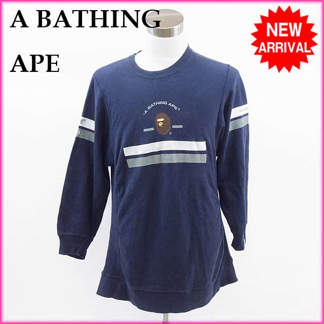 【送料無料】 ア・ベイシング・エイプ A BATHING APE トレーナー ネイビー 綿100% 【中古】 E248