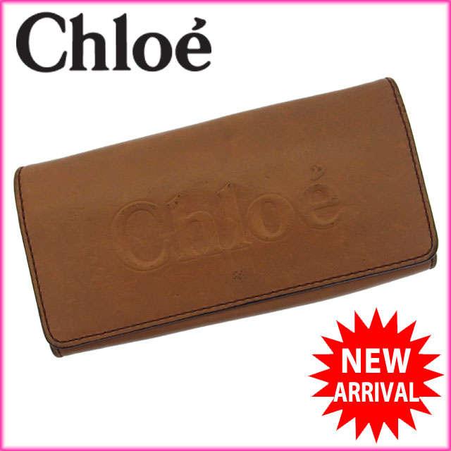 【送料無料】 クロエ Chloe 長財布 ファスナー 二つ折り メンズ可 ロゴ ライトブラウン×ゴールド レザー 【中古】 F554 .