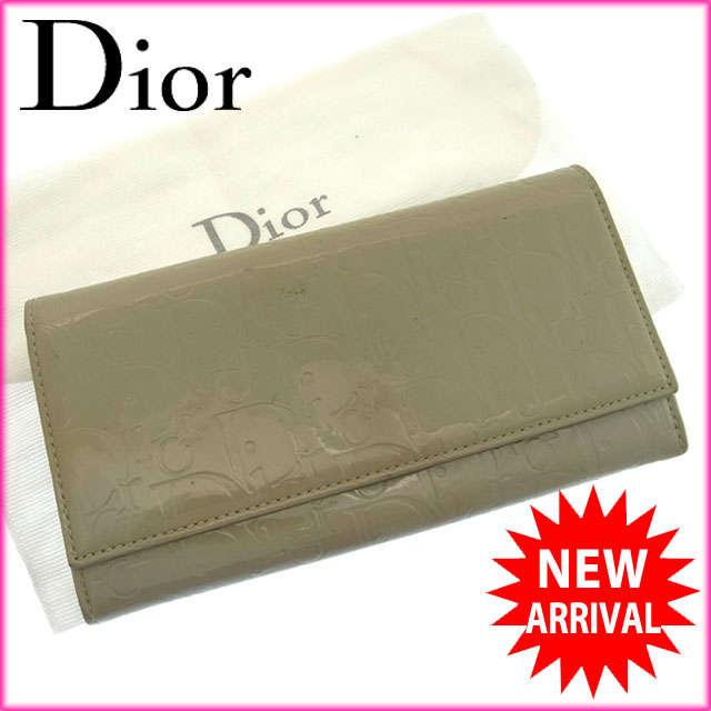 【送料無料】 クリスチャン・ディオール Christian Dior 長財布 ファスナー 二つ折り メンズ可 アルティメット トロッター グレー エナメルレザー (あす楽対応) 人気 良品【中古】 F629