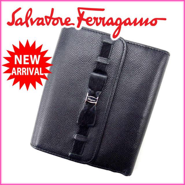【送料無料】 サルヴァトーレ・フェラガモ Salvatore Ferragamo Wホック財布 メンズ可 ヴァラリボン ブラック レザー (あす楽対応)良品 人気 【中古】 F725