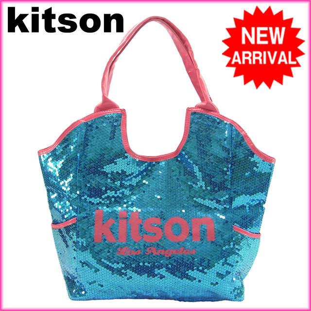 【送料無料】 (良品・即納) キットソン kitson ショルダーバッグスパンコールレディース ロゴ ブルー×ピンク PVC×スパンコール 【中古】 G118