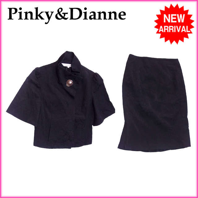 【中古】 【送料無料】 ( 美品 ・即納) ピンキー&ダイアン Pinky&Dianne セットアップ レディース シングルジャケット×タイトスカート フラワーレース ブラック C 51%RY 48%PU 1%(別布)PE 100% H167s