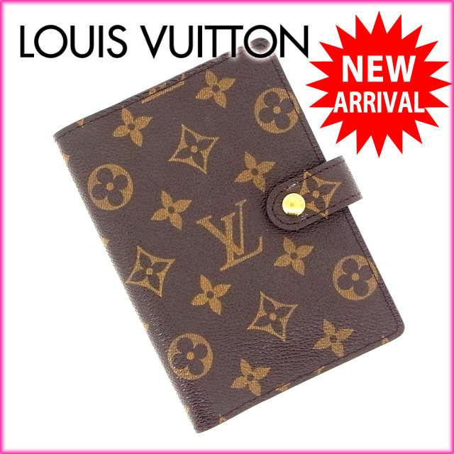 ルイヴィトン Louis Vuitton 手帳カバー カード入れ×3 メンズ可 /アジェンダPM モノグラム R20005 ブラウン PVC×レザー (あす楽対応)(激安・即納)【中古】 Y208