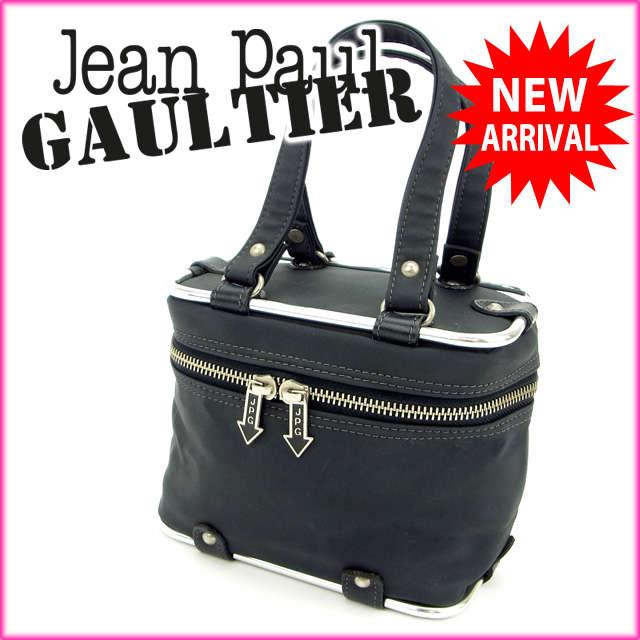 ジャンポール・ゴルチェ Jean Paul Gaultier ハンドバッグ /バニティ メタルフレーム ブラック×シルバー ナイロン×メタル (あす楽対応)(廃盤レア・良品)【中古】 Y525