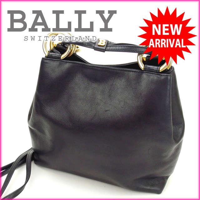 バリー BALLY ショルダーバッグ ブラック×ゴールド レザー (あす楽対応)人気 激安【中古】 Y771 .