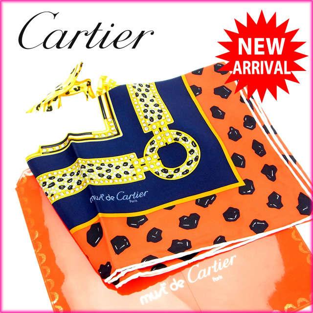 【中古】 【送料無料】 カルティエ Cartier スカーフ パンサー レッド×ネイビー×ベージュ 100%シルク (あす楽対応)人気 激安 Y834