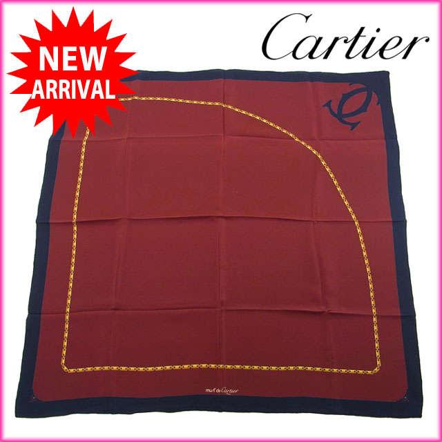 【中古】 【送料無料】 カルティエ Cartier スカーフ レディースメンズ可 ロゴ×チェーン ボルドー×ネイビー系 Silk/100% (あす楽対応)人気 良品 Y881