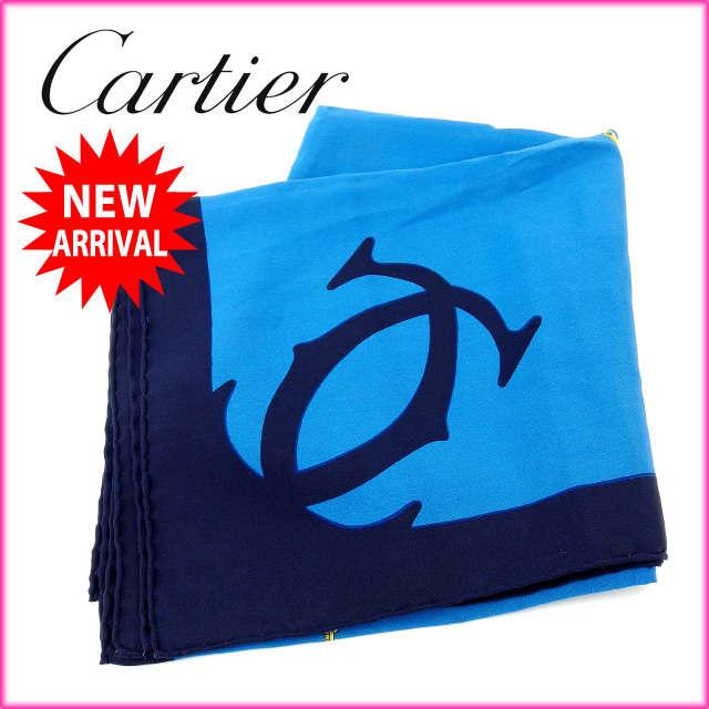 【中古】 【送料無料】 カルティエ Cartier スカーフ メンズ可 マストライン ブルー×ブラック 100%シルク (あす楽対応)人気 美品 Y1280