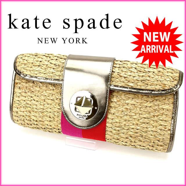 【中古】 【送料無料】 ケイト・スペード kate spade クラッチバッグ かごバッグ レディース ゴールド (あす楽対応)人気 美品 Y1529